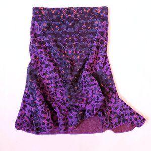 M Missoni Metallic Stretch Purple Knit Midi Skirt